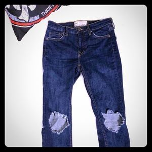 Free People Distressed Skinny Denim Jeans